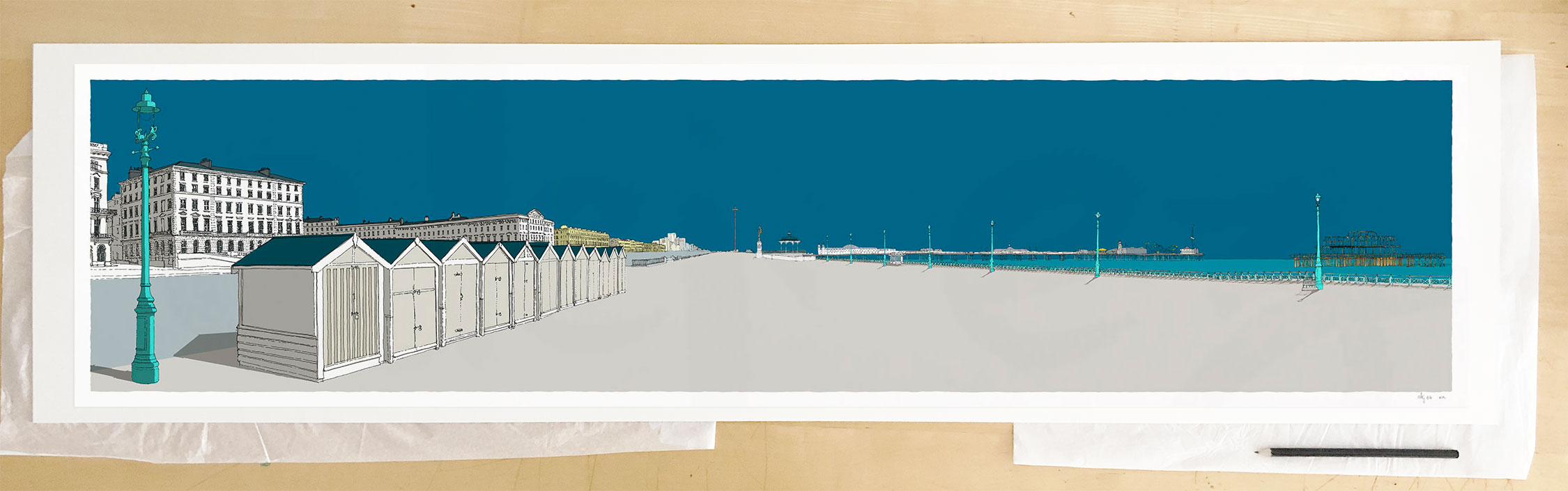 Fine art print by UK artist alej ez titled Adelaide, Beach Huts, Brunswick and the Two Piers Ocean Blue