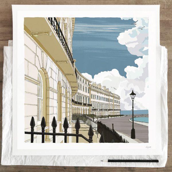 Adelaide Crescent Brighton Seaside Architecture art print 30 x 30 cm by artist alej ez