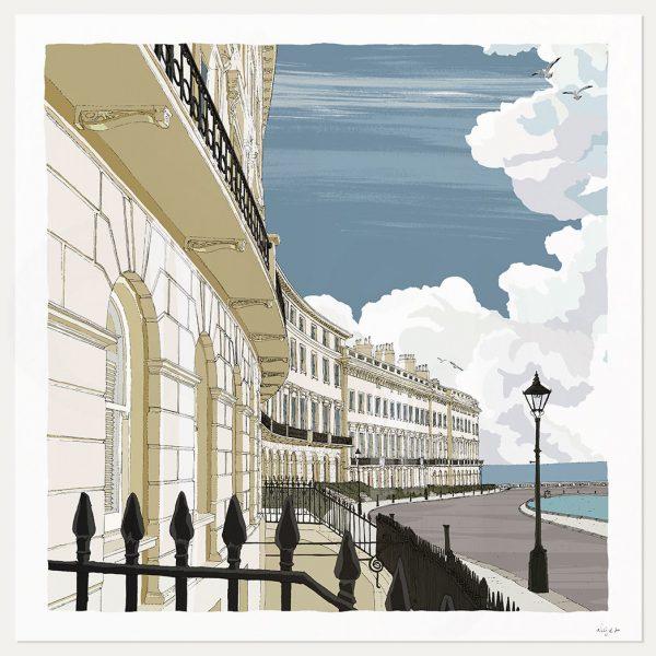 Adelaide Crescent Brighton Seaside Architecture art print by artist alej ez