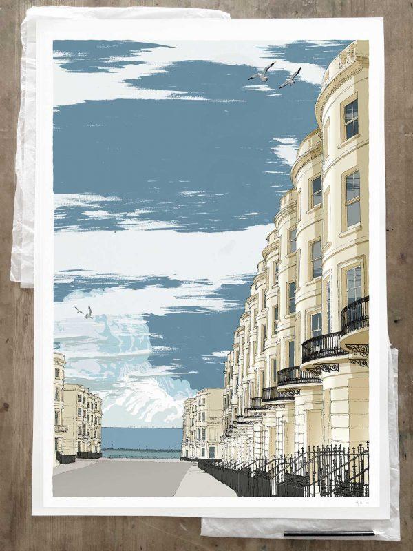 Brunswick Place Brighton Seaside Architecture art print A1 size by artist alej ez