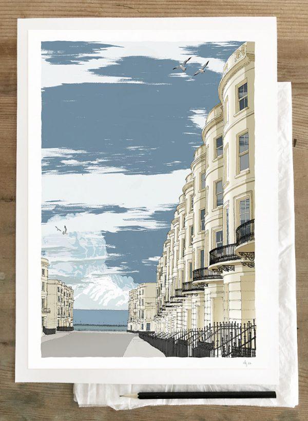 Brunswick Place Brighton Seaside Architecture art print A3 size by artist alej ez