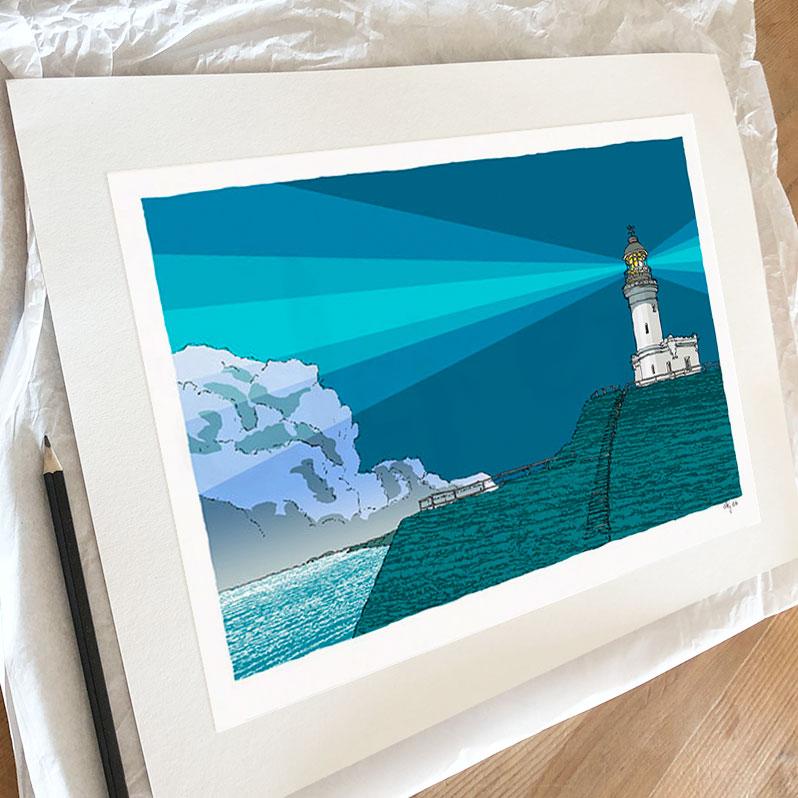 Fine art print by artist alej ez titled Cape Byron Lighthouse Blue Night