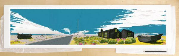 Fine art print by UK artist alej ez titled Ce Bleu Dungeness Derek Jarman Prospect Cottage
