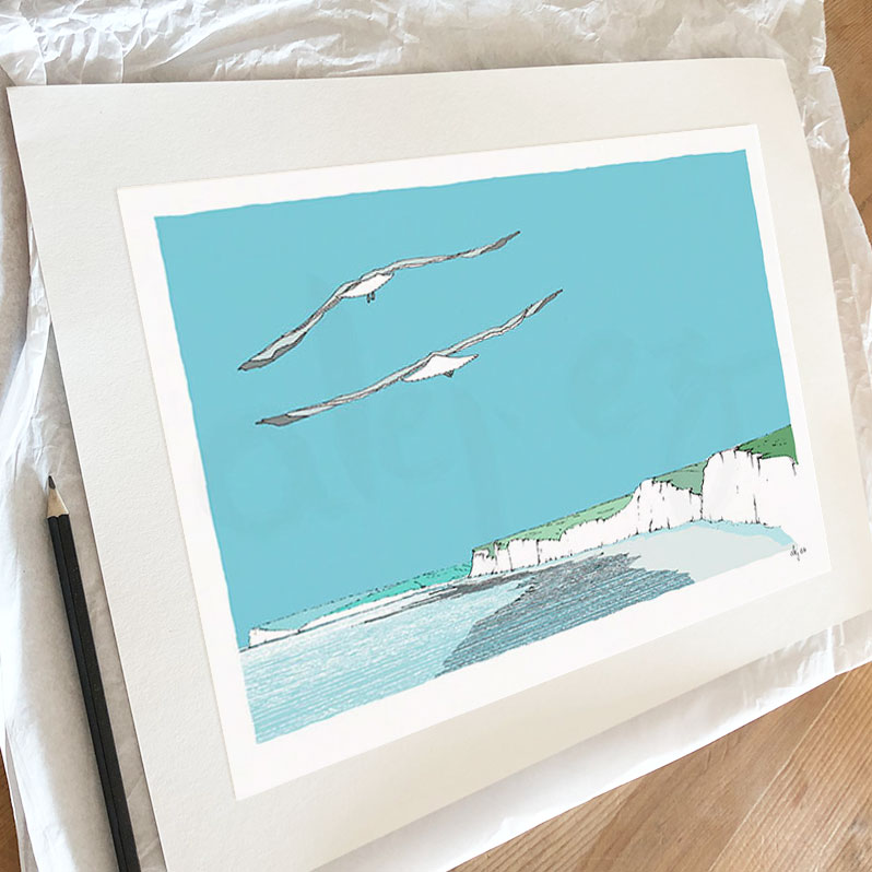 Fine art print by artist alej ez titled Chalk'n Flint Flying Chalk Cliffs