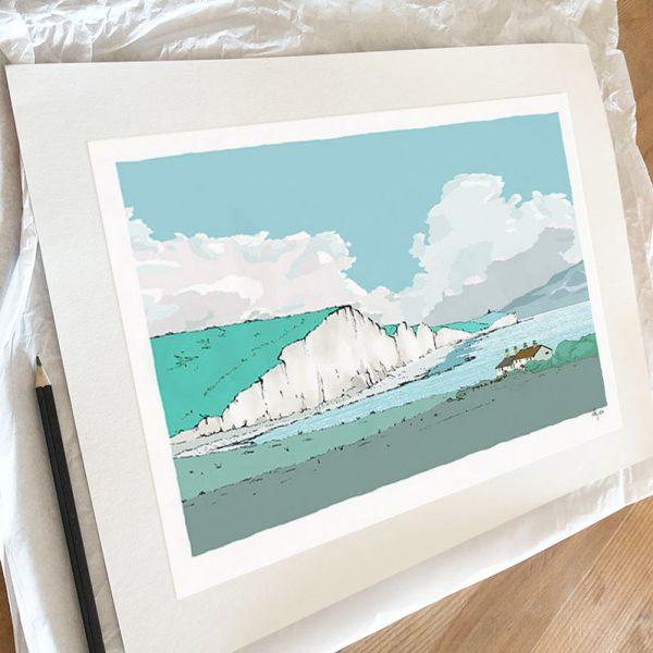 Fine art print by artist alej ez titled Coastguard Cottages Cuckmere Chalk Cliffs