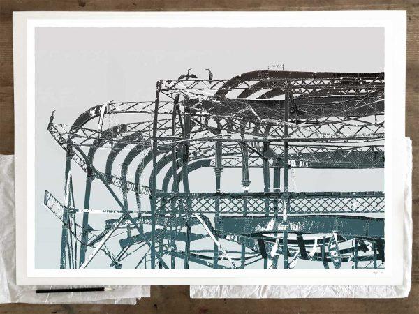 Fine art print by artist alej ez titled West Pier Cormorants