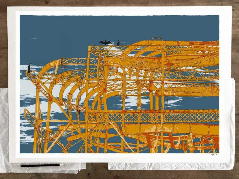 Fine art print by artist alej ez titled West Pier Cormorants Antique Ochre and Blue