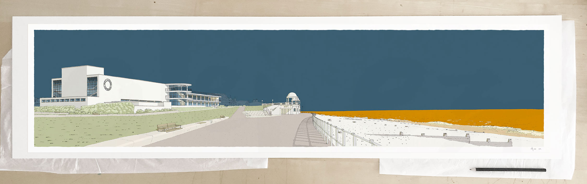 Fine art print by UK artist alej ez titled De La Warr Pavilion Bexhill on Sea Antique Blue and Ochre