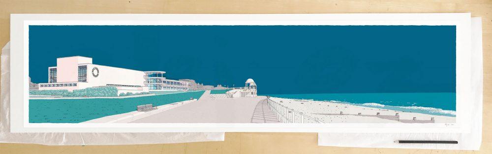 Fine art print by UK artist alej ez titled De la Warr Pavilion Bexhill on Sea Ocean Blue