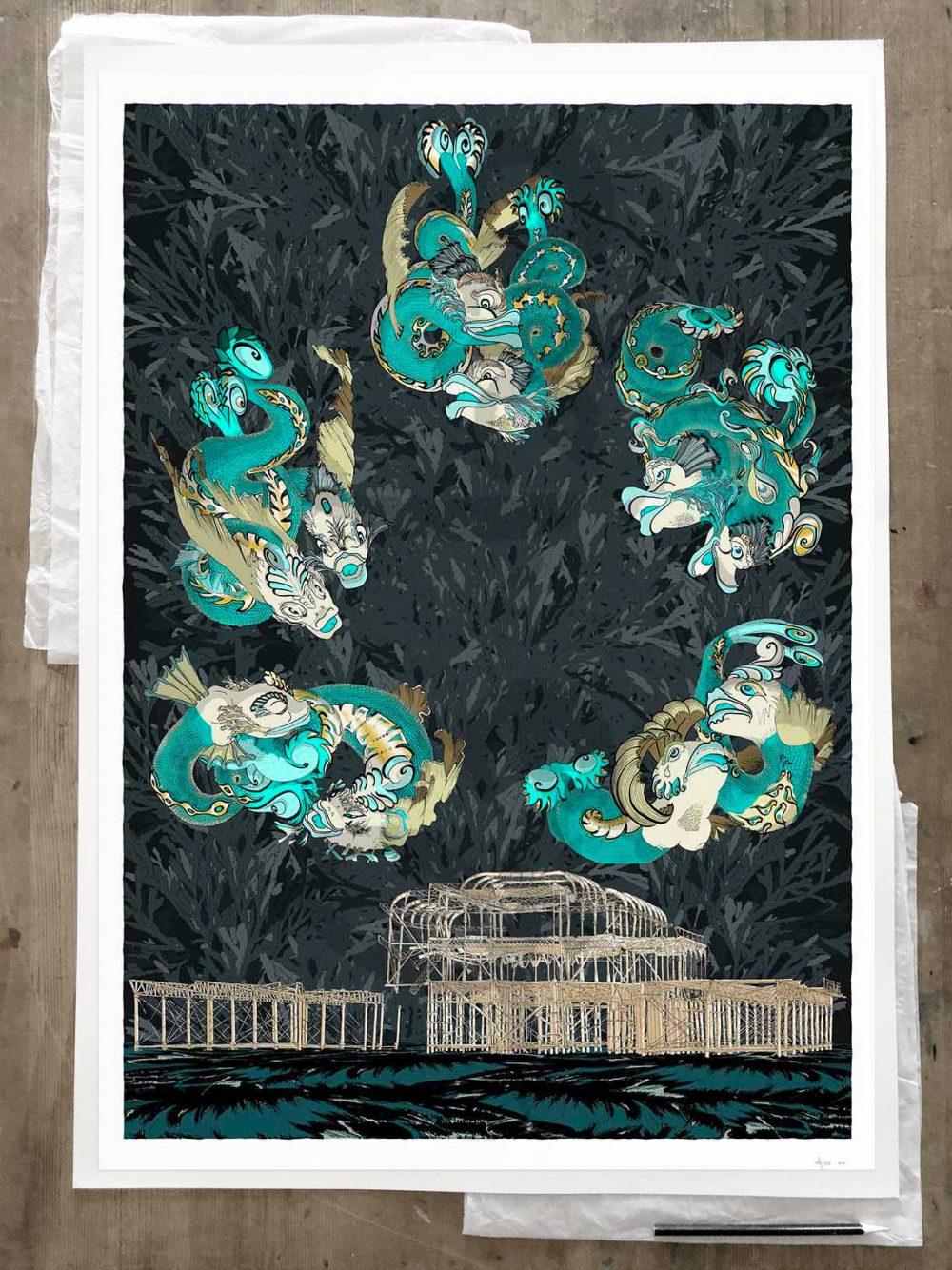 Fine art print by artist alej ez titled Dolphins of Brighton West Pier Midnight Sea