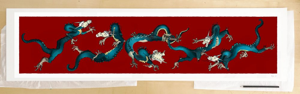 Fine art print by UK artist alej ez titled Dragons Roll Chen Rong
