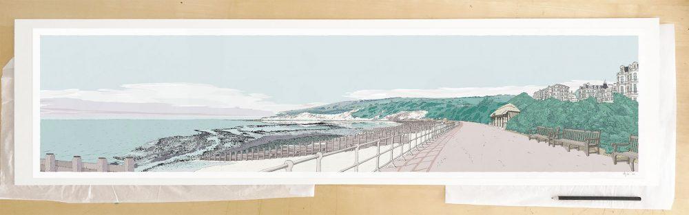 Fine art print by UK artist alej ez titled Eastbourne West Promenade Pebble Beach
