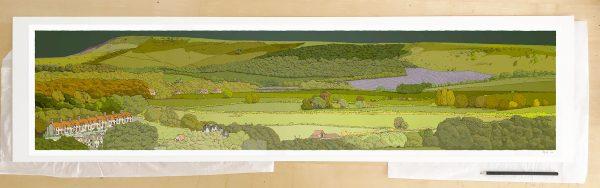 Fine art print by UK artist alej ez titled Firle from Glynde Emerald Skies