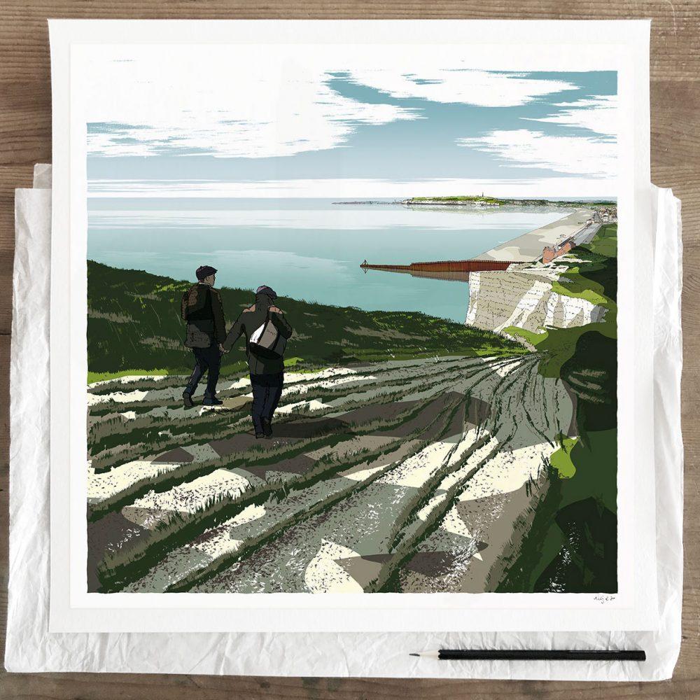 Fine art print by artist alej ez titled Seaford Head to Newhaven Walk
