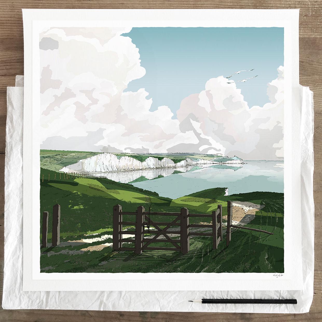 Fine art print by artist alej ez titled Gateway to Seven Sisters Chalk Cliffs