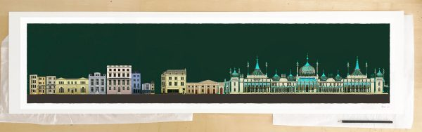 Fine art print by UK artist alej ez titled Hers and His Fitzherbert and George IV Brighton Pavilion Emerald Skies