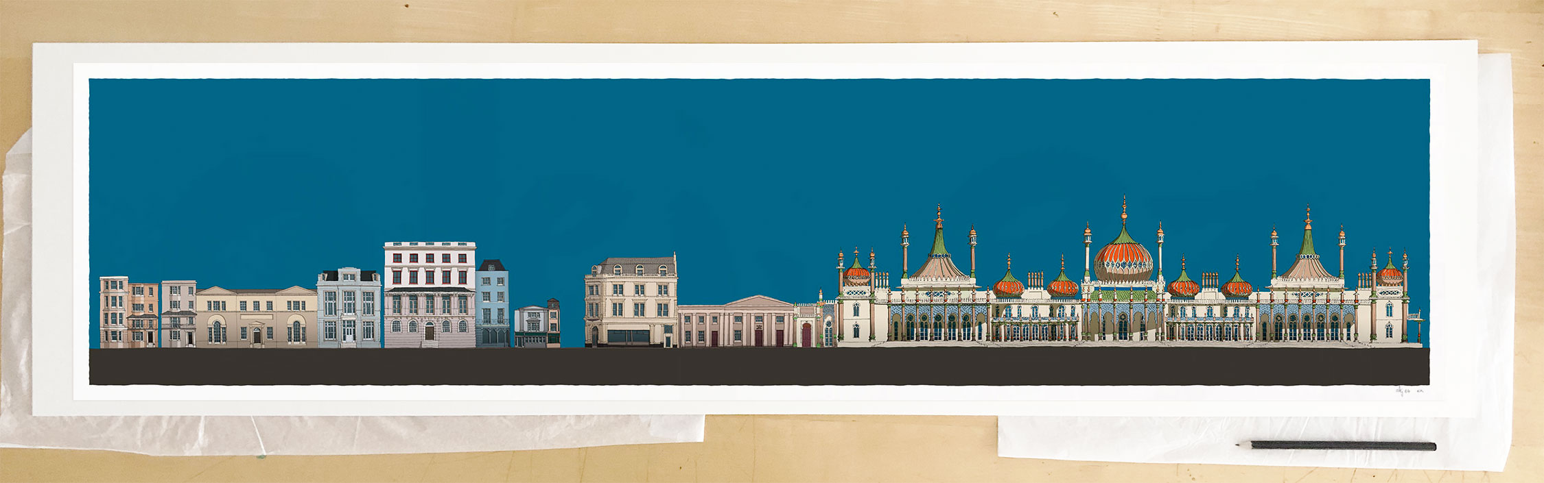 Fine art print by UK artist alej ez titled Hers and His Fitzherbert and George IV Brighton Pavilion Ocean Blue