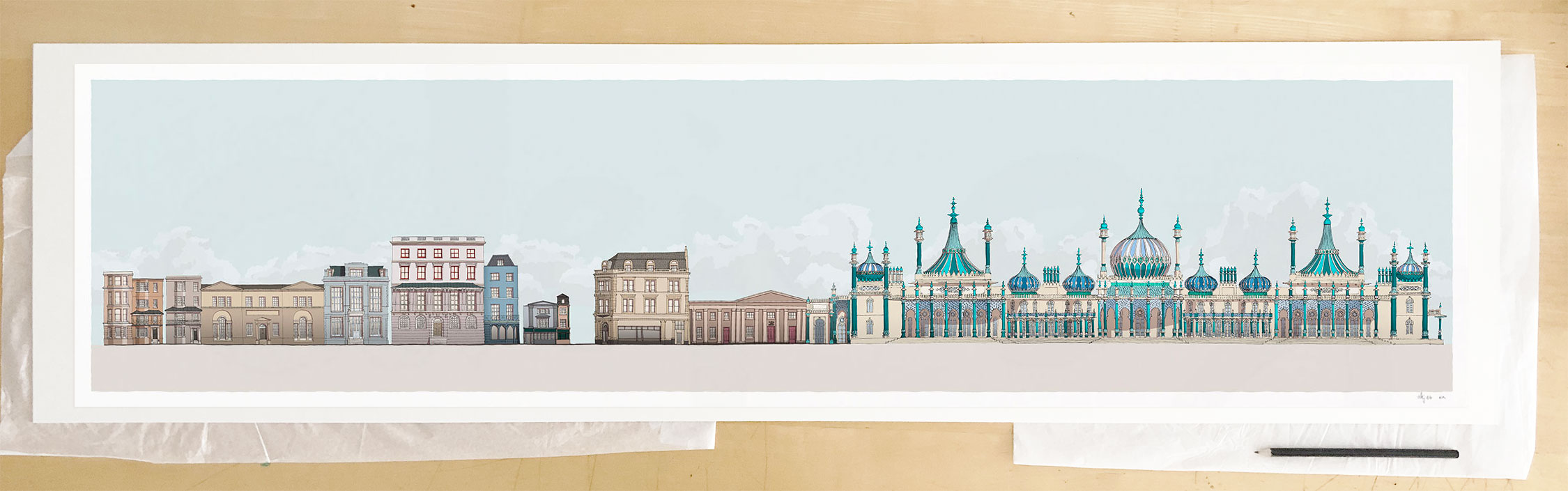Fine art print by UK artist alej ez titled Hers and His Fitzherbert and George IV Brighton Pavilion Pebble Beach