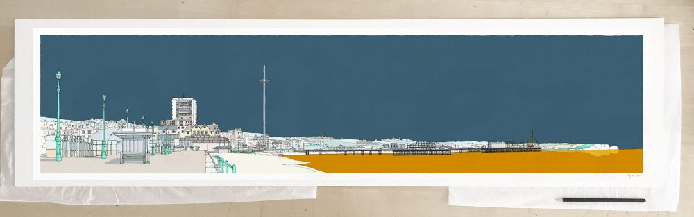 Fine art print by UK artist alej ez titled Hove Brighton Beach Promenade Antique Blue and Ochre