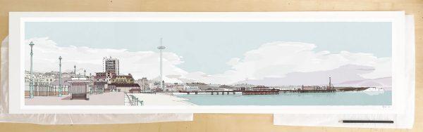 Fine art print by UK artist alej ez titled Hove Brighton Promenade Pebble Beach