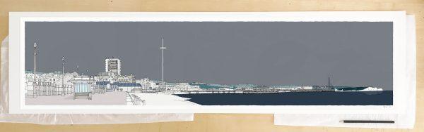 Fine art print by UK artist alej ez titled Hove Brighton Promenade Silver
