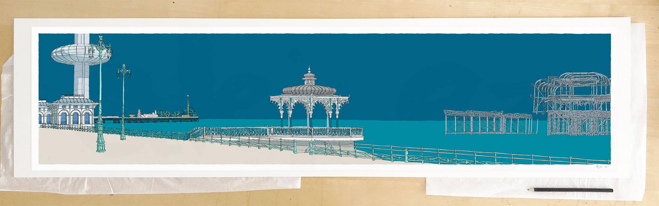 Fine art print by UK artist alej ez titled I360, Palace Pier, The Bandstand and West Pier Ocean Blue