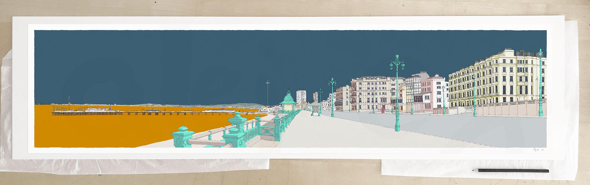 Fine art print by UK artist alej ez titled Kemptown Brighton Beach Promenade Antique Blue and Ochre