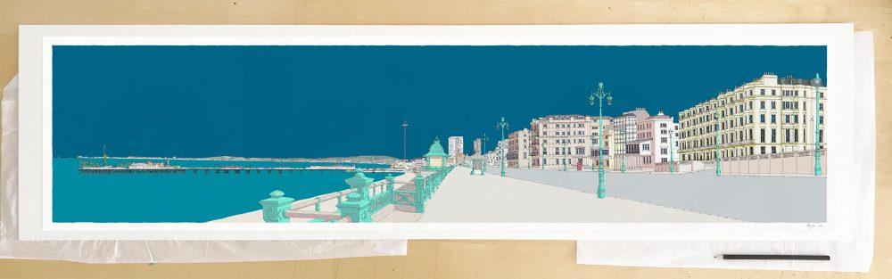 Fine art print by UK artist alej ez titled Kemptown Brighton Promenade Ocean Blue