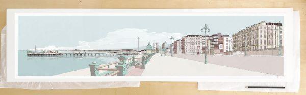 Fine art print by UK artist alej ez titled Kemptown Brighton Promenade Pebble Beach