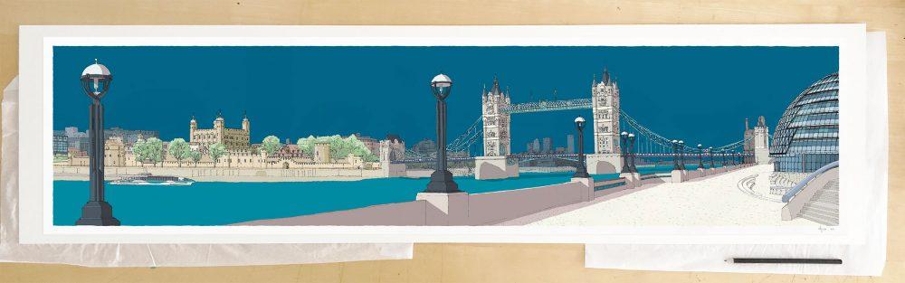 Fine art print by UK artist alej ez titled London River Thames by Tower Bridge Ocean Blue