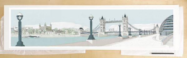Fine art print by UK artist alej ez titled London River Thames by Tower Bridge Pebble Beach