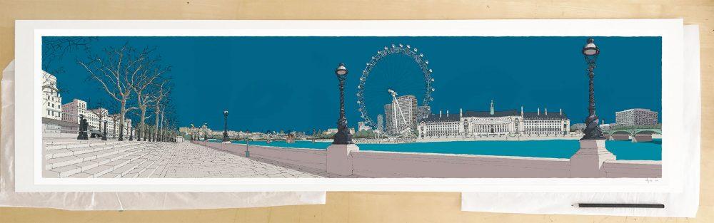 Fine art print by UK artist alej ez titled London River Thames by Westminster Bridge Ocean Blue