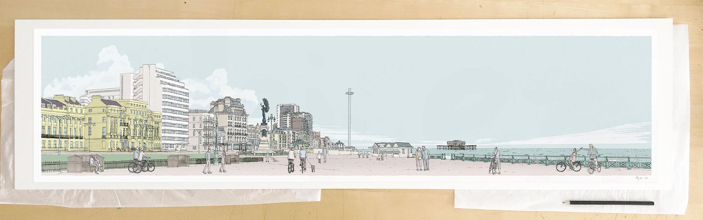 Fine art print by UK artist alej ez titled Morning Walk Sea Promenade Brighton and Hove Pebble Beach