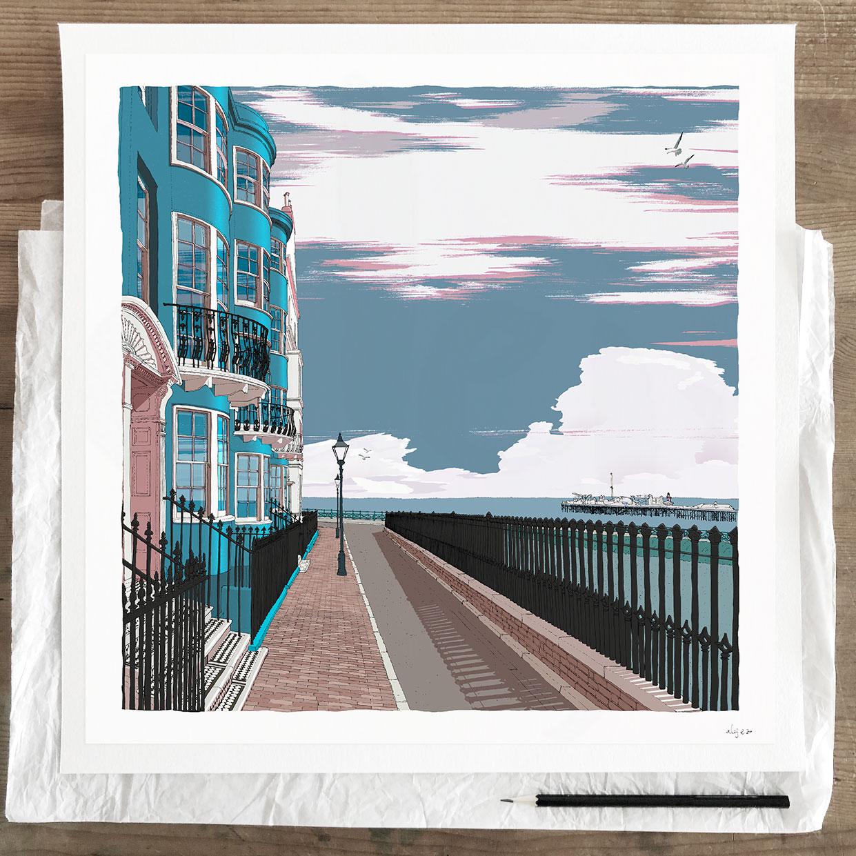 New Steine Brighton Seaside Architecture art print by artist alej ez