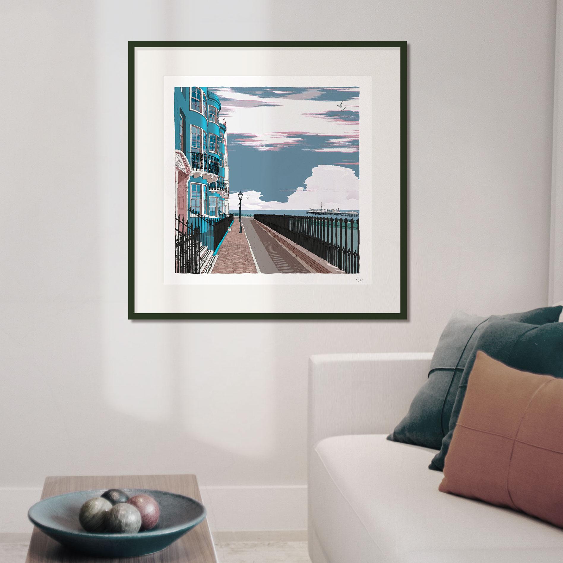 New Steine Brighton Seaside Architecture art print 50 x 50 cm size framed