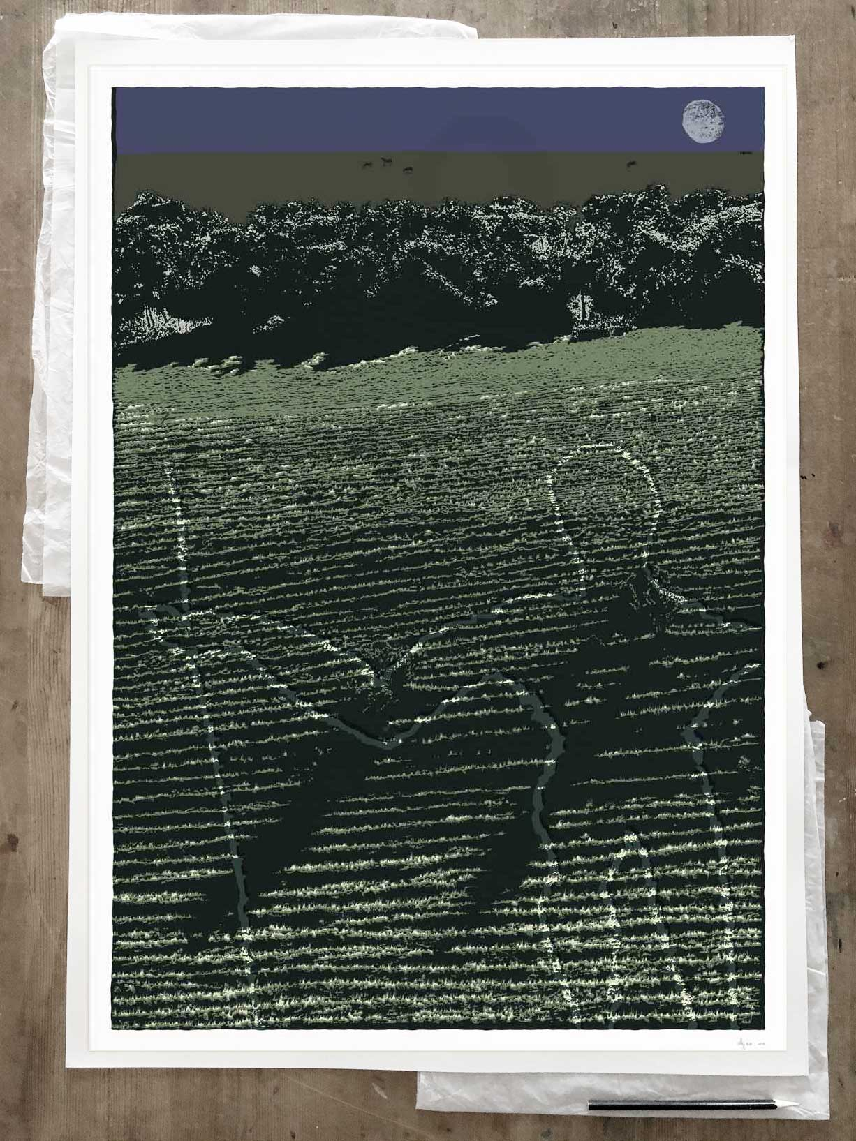 Fine art print by artist alej ez titled Night Moon and The Long Man of Wilmington