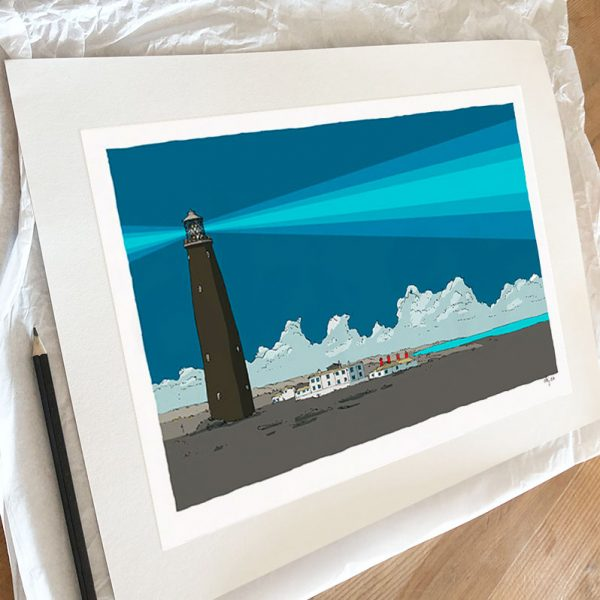 Fine art print by artist alej ez titled Old Lighthouse Rye Pier Blue Night