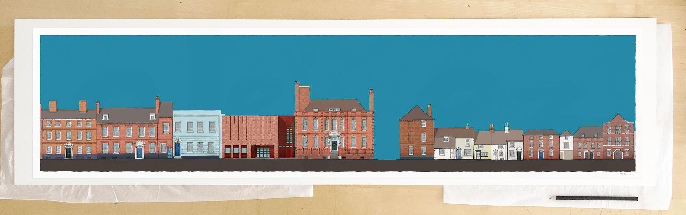 Fine art print by UK artist alej ez titled Pallant House Gallery Cerulean Blue