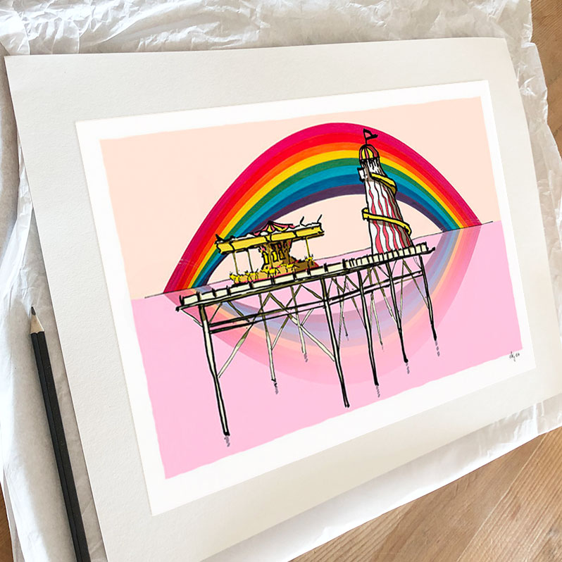 Fine art print by artist alej ez titled Rainbow over the Helter Skelter Brighton Palace Pier