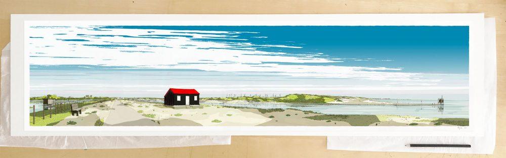 Fine art print by UK artist alej ez titled Red Roofed Hut Rye Harbour Camber Sands