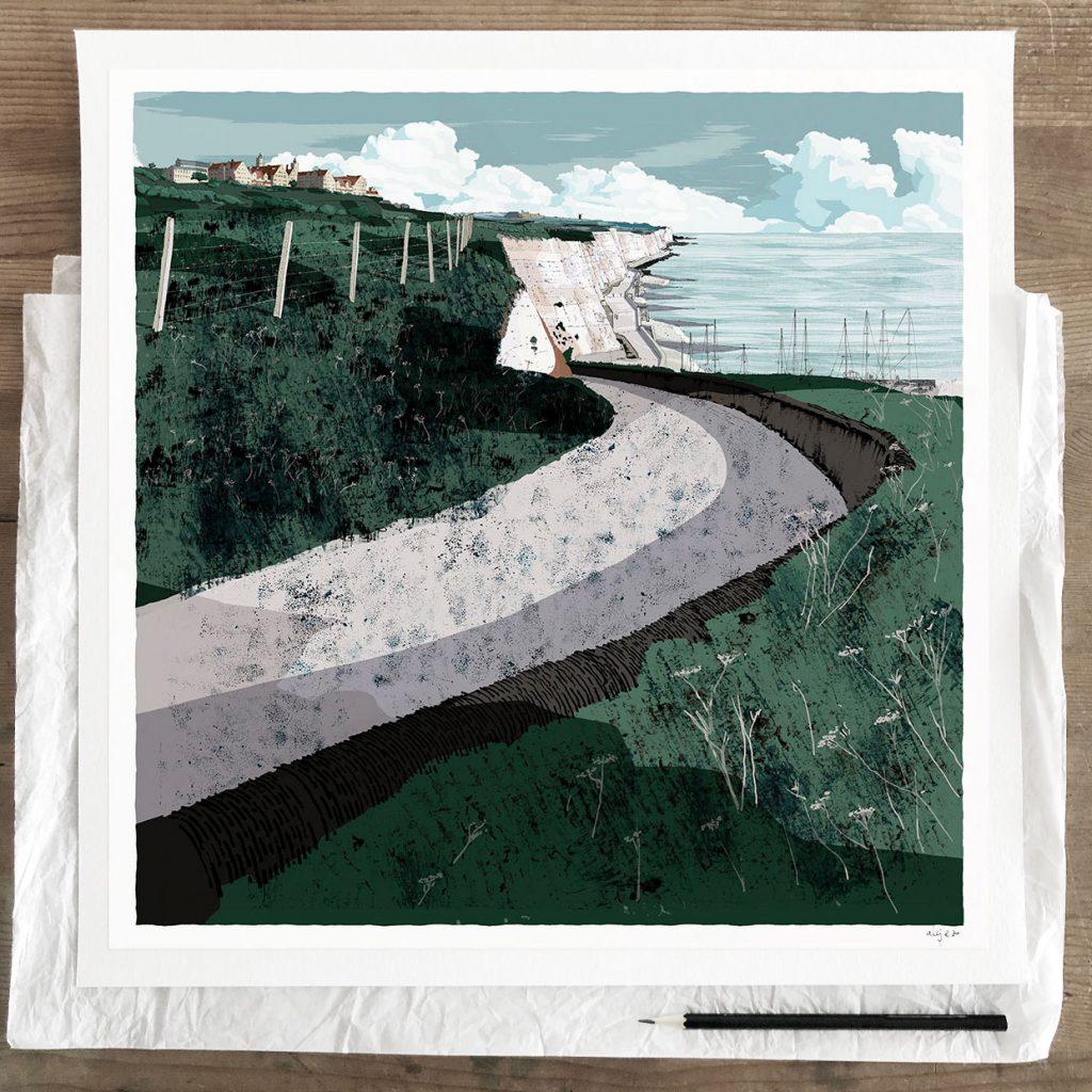 Fine art print by artist alej ez titled Roedean School Brighton Chalk Cliffs