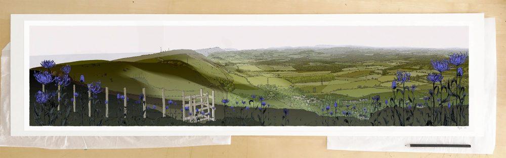 Fine art print by UK artist alej ez titled Devils Dike Round Headed Rampion, Pride of Sussex