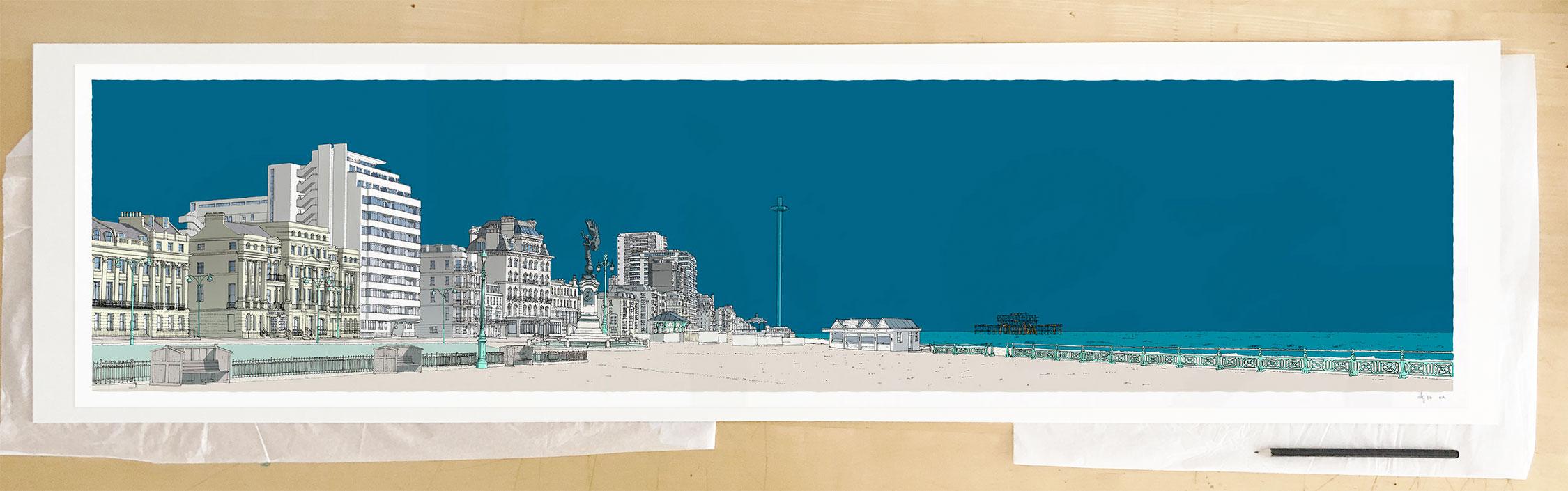 Fine art print by UK artist alej ez titled Embassy Court Brighton and Hove Promenade Ocean Blue