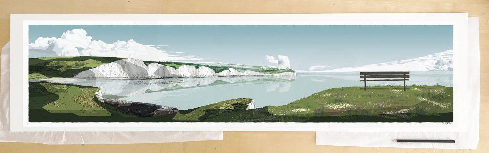 Fine art print by UK artist alej ez titled Seven Sisters Cliffs Seven Sisters Cliffs