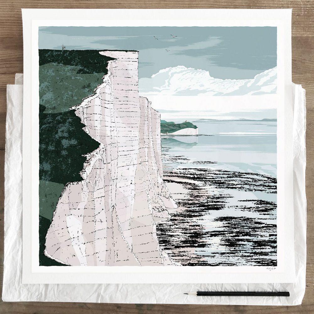 Fine art print by artist alej ez titled Seven Sisters Cliffs Walk Brass Point