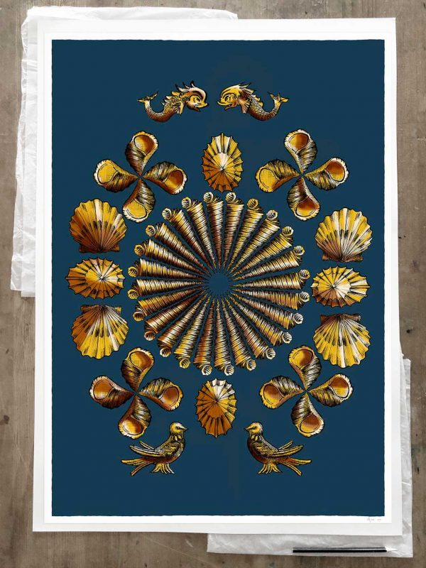 Fine art print by artist alej ez titled Shell Grotto Blue and Gold