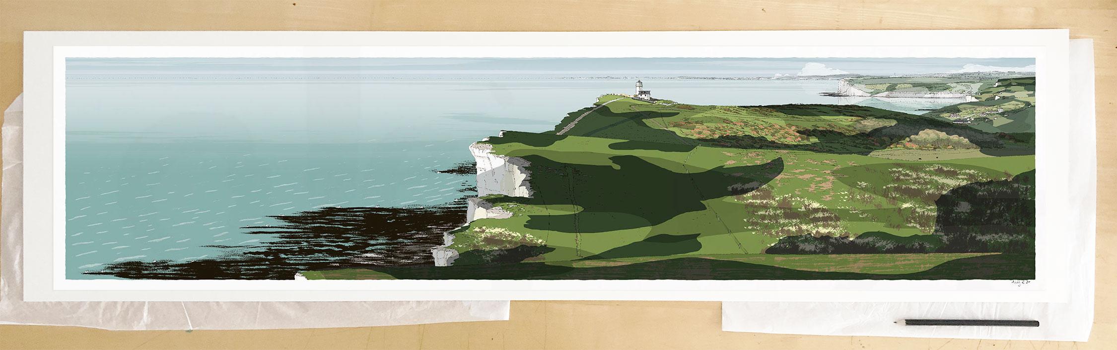 Fine art print by UK artist alej ez titled South Downs Way Belle Tout Lighthouse Beachy Head