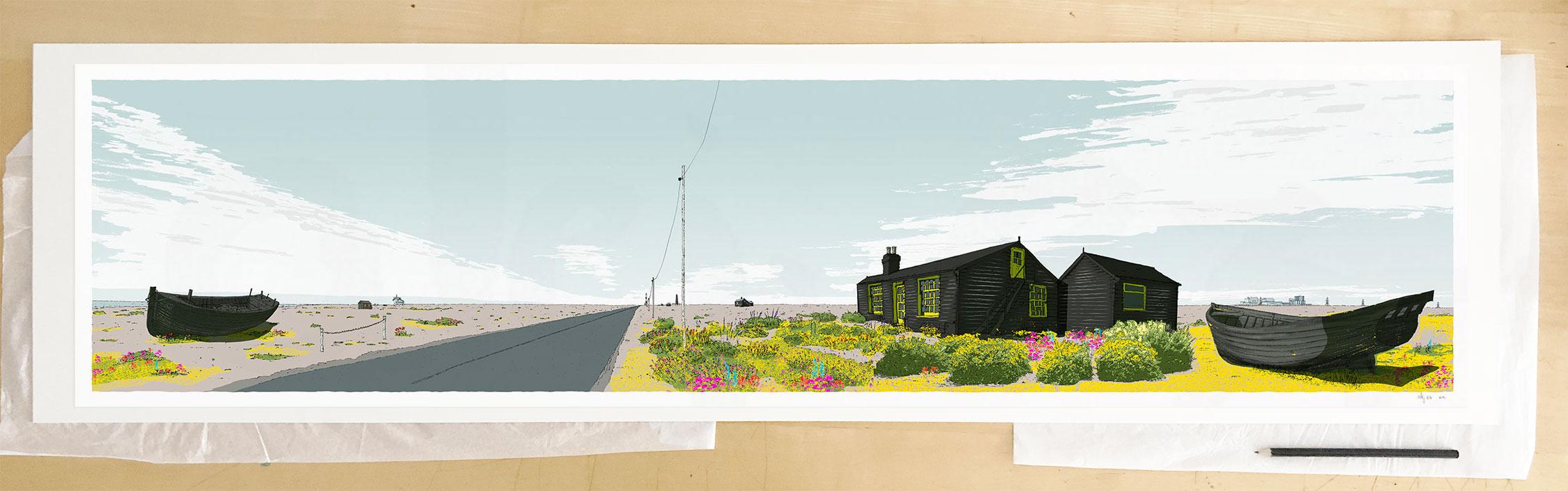 Fine art print by UK artist alej ez titled Stratus Over Dungeness Derek Jarman Prospect CottageStratus Over Dungeness Derek Jarman Prospect Cottage