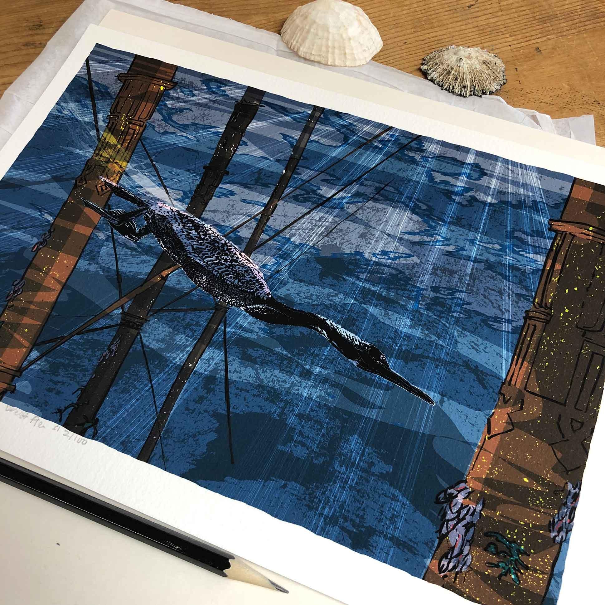 The Diving Cormorant under the West Pier art print