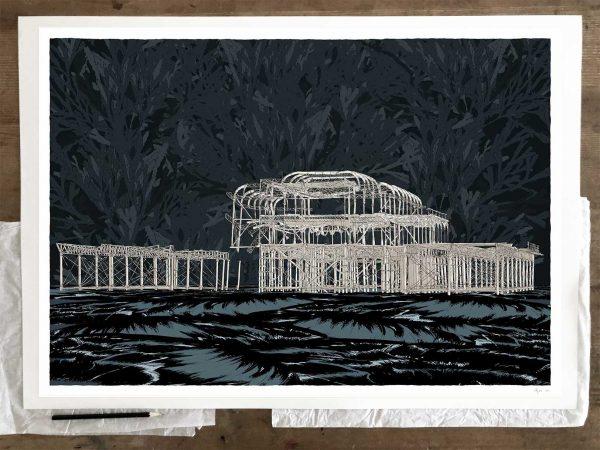 Fine art print by artist alej ez titled Brighton West Pier Night Sea